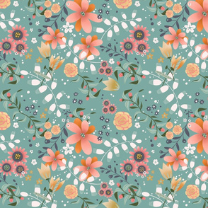 Soft Spring Flowers Teal Background