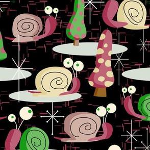 MidCentury Modern Snails-- Midcentury Atomic Snail in Black-- Pink, Green, Cream Christmas Snails
