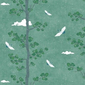 Pines and Cranes in Forest Green (small scale) | Forest fabric, bird fabric in soft green. Japanese print fabric, tree fabric with cranes and snow.