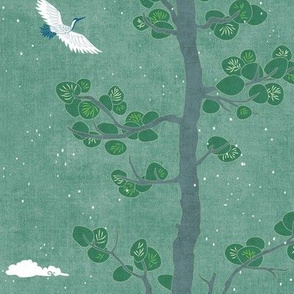 Pines and Cranes in Forest Green (medium scale) | Forest fabric, bird fabric in soft green. Japanese print fabric, tree fabric with cranes and snow.