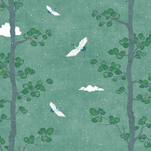 Pines and Cranes in Forest Green (large scale) | Forest fabric, bird fabric in soft green. Japanese print fabric, tree fabric with cranes and snow.