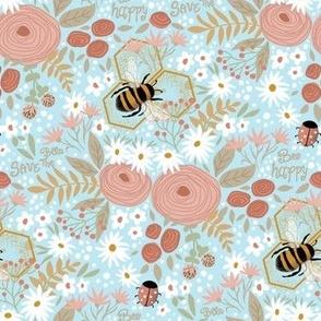 bee happy bees & flowers light blue
