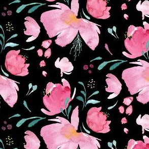 Pink flowers on black|Spring Fields|Renee Davis
