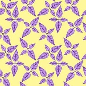 Purple Leaves on Yellow