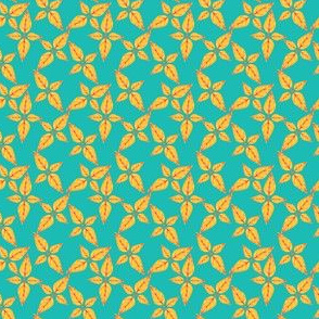 Yellow Leaves on Teal
