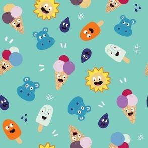 Turquoise Ice Cream Pattern