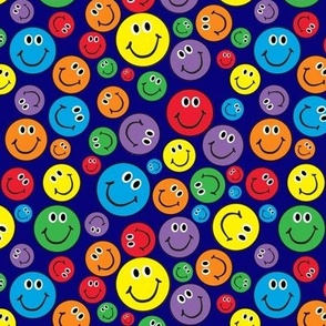 """6"""" Rainbow Smiley Faces Pattern Blue"""