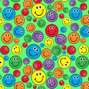"""6"""" Rainbow Smiley Faces Pattern Green"""