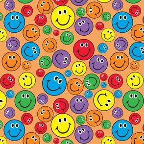 "6"" Rainbow Smiley Faces Pattern Orange"