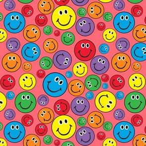 """6"""" Rainbow Smiley Faces Pattern Pink"""