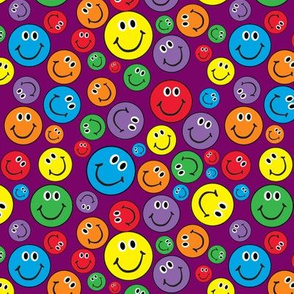 "6"" Rainbow Smiley Faces Pattern Purple"