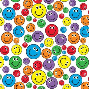 "6"" Rainbow Smiley Faces Pattern White"