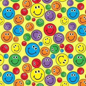 """6"""" Rainbow Smiley Faces Pattern Yellow"""
