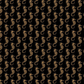 Classic Seahorse Pattern in Light Gold with Black Background