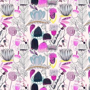 Collage Flowers - Indigo