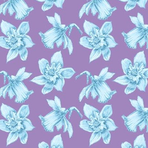 Daffodil Sketch Blue on Mauve
