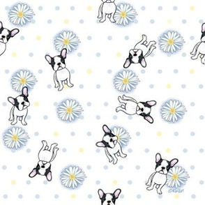 Frenchies n' Daisies in Blue