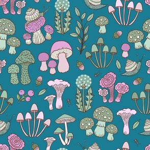 (Small)Snails and Fungi - Pink and Green
