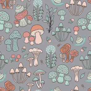 (Small)Snails and Fungi - Muted