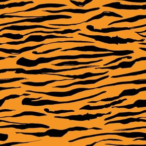 Bright Orange Tiger Safari Animal Skin, horizontal stripes
