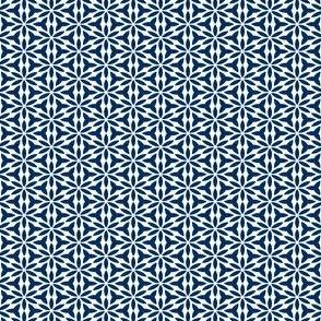 True Blue: Mini Print - GeoFloral - Navy on White