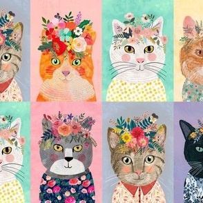 "8"" Cute cats with floral crowns panels"