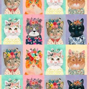 "4"" Cute cats with floral crowns panels"