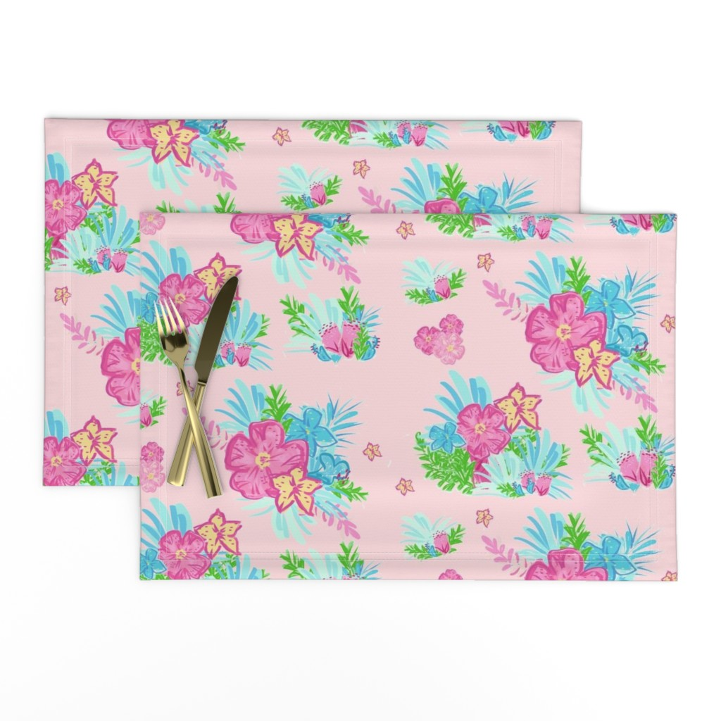 Lamona Cloth Placemats featuring paradise floral tropics light pink - LARGE 105 by drapestudio