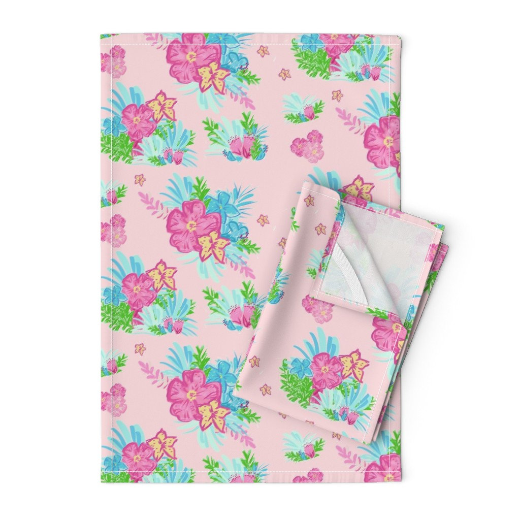 Orpington Tea Towels featuring paradise floral tropics light pink - LARGE 105 by drapestudio