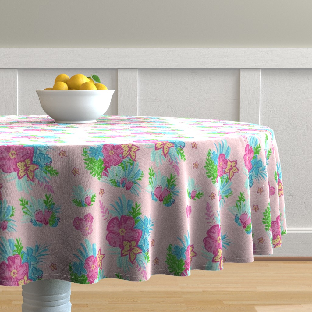 Malay Round Tablecloth featuring paradise floral tropics light pink - LARGE 105 by drapestudio