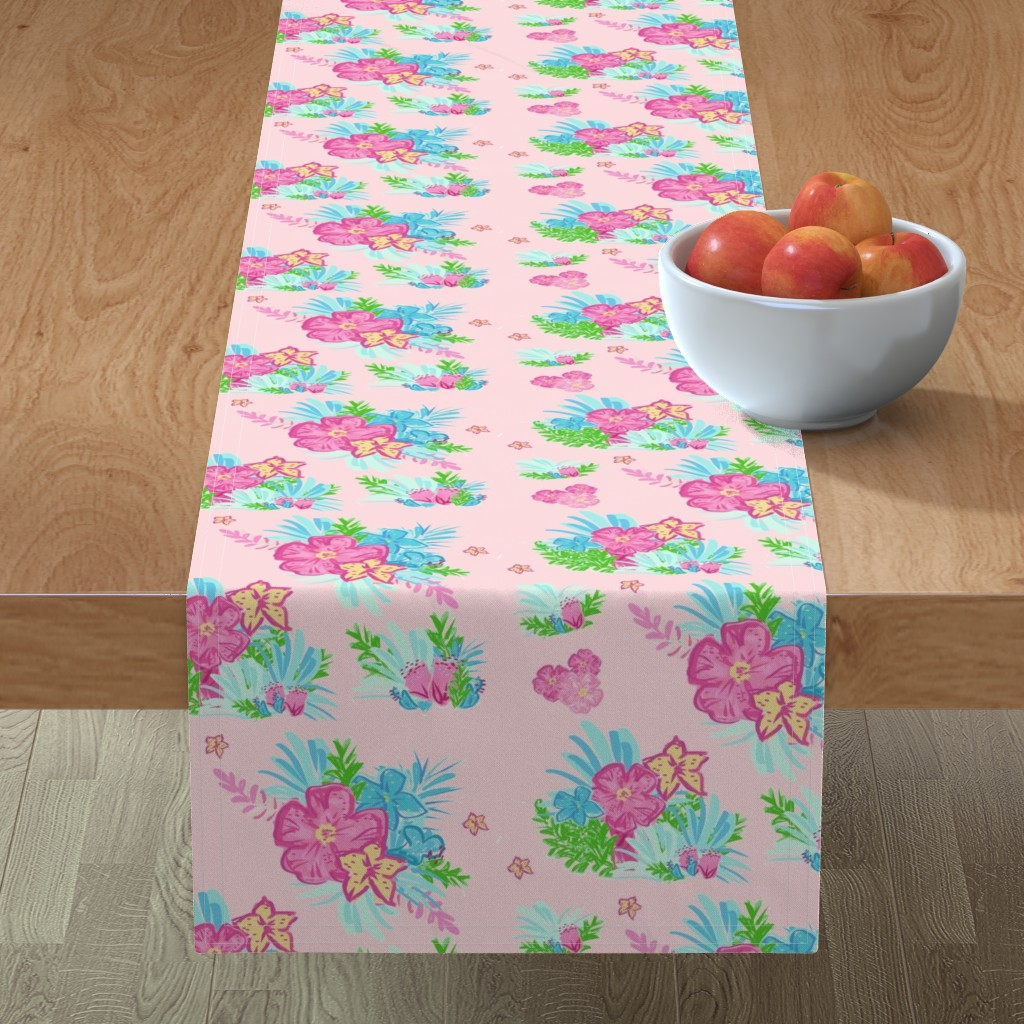 Minorca Table Runner featuring paradise floral tropics light pink - LARGE 105 by drapestudio