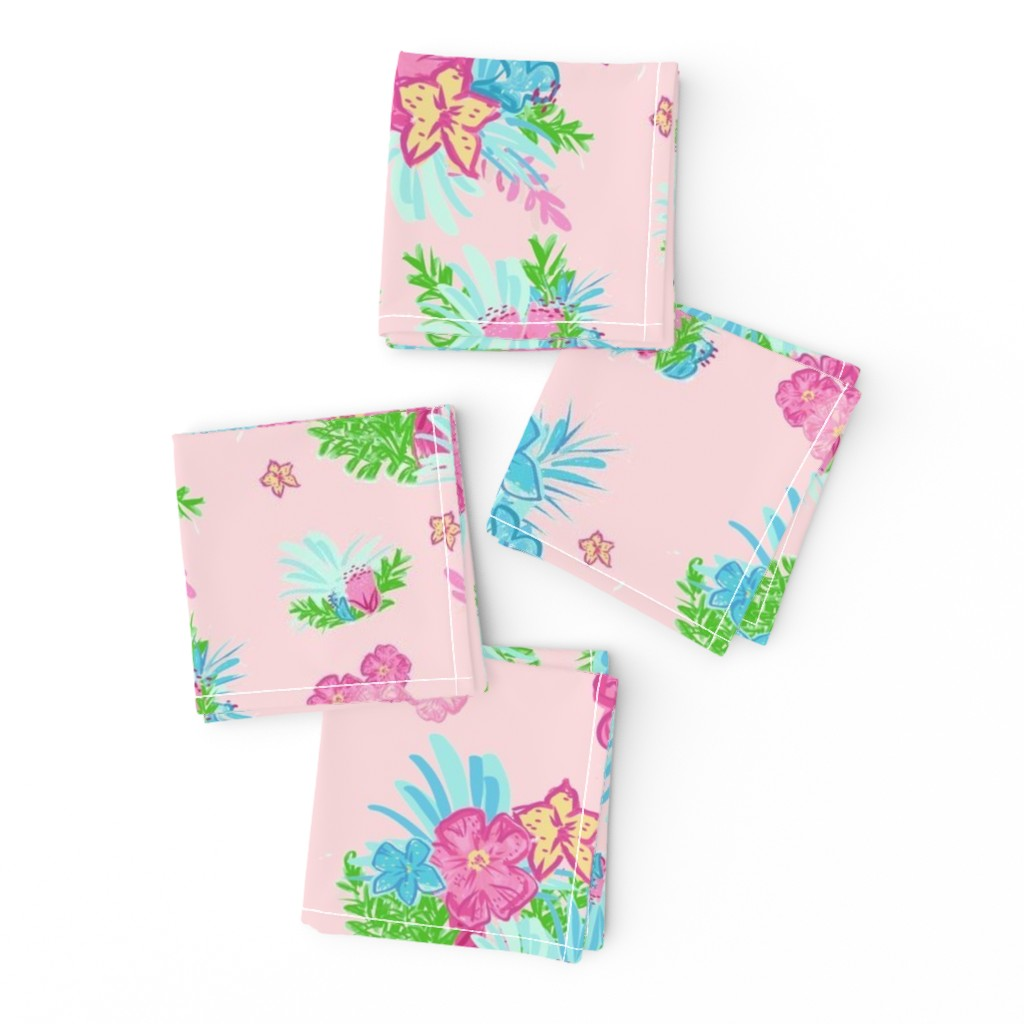 Frizzle Cocktail Napkins featuring paradise floral tropics light pink - LARGE 105 by drapestudio