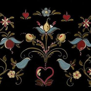 Norwegian Os Rosemaling Inspired Black background