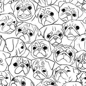 Pugs Line Drawing