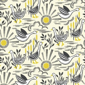 Sunshine Geese Illuminating Yellow Grey by Angel Gerardo - Small - Linocut Inspired