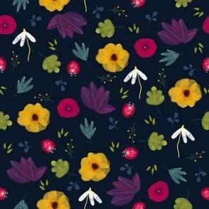 Ladybugs and Flowers - Dark Background