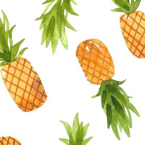Watercolor Pineapples - Large Scale