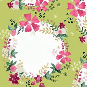 Flower Wreath with Clover