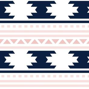 pink and navy aztec stripe