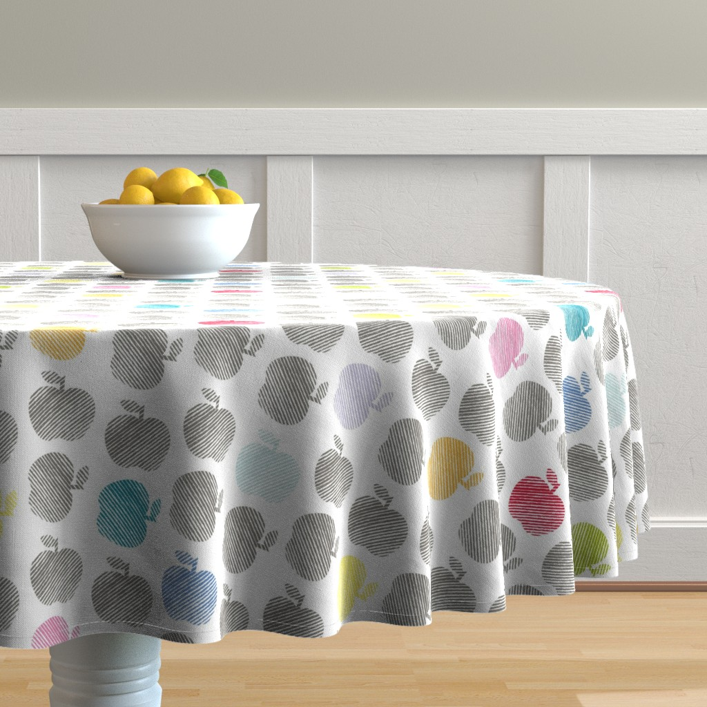 Malay Round Tablecloth featuring ApplePop by cucawik