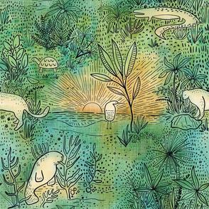 Everglade Toile - Watercolor
