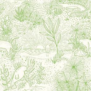 Everglades Toile - Lime