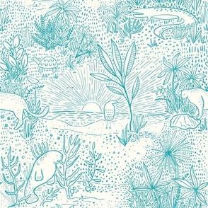 Everglades Toile -Ocean Blue