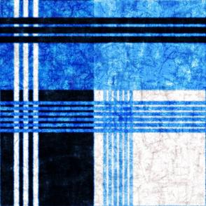 True Blue: Blocky Plaid - Batik Version