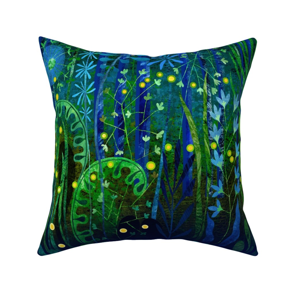 Catalan Throw Pillow featuring Dance of the Fireflies by stitchyrichie