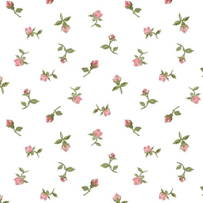 Floating Vintage Rosebuds #1 - white, large