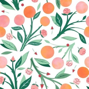 Peaches and Peony Buds