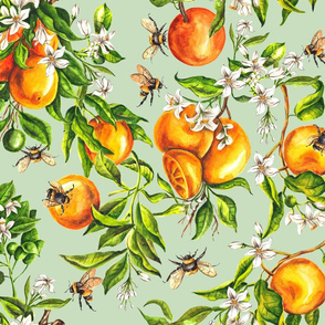 Oranges on Pale Green - Big Scale