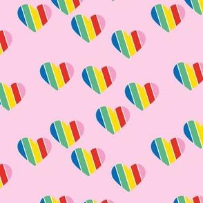 Rainbow love hearts confetti pride gay on pink