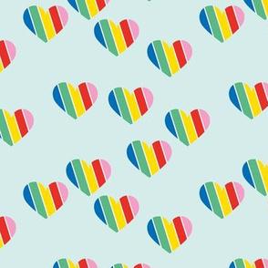 Rainbow love hearts confetti pride gay on mint blue